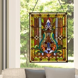 "River of Goods Multicolor Stained Glass 24.75-inch High Fleur de Lis Window Panel - 18.875""L x 0.25""W x 24.75""H"