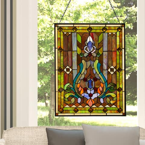 "River of Goods Multicolor Stained Glass 24.75-inch High Fleur de Lis Window Panel - 18.875""L x 0.25""W x 24.75""H"