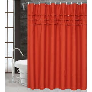 Olivia by Artisitc Linen Easy To Hang Studed Polyester Shower Curtain