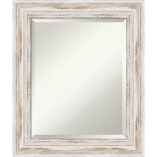 Maison Rouge Adair Medium White Wash Bathroom Mirror, 21 x 25