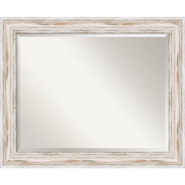 Bathroom Mirror Large, Alexandria White Wash 33 X 27 Inch