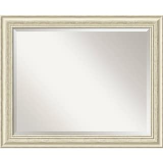Bathroom Mirror Large, Fits Standard 30-inch to 36-inch Cabinet, Country Whitewash 33 x 27-inch
