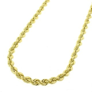 10k Yellow Gold 3mm Hollow Rope Chain Necklace