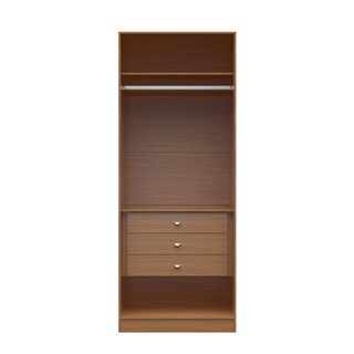 Manhattan Comfort Chelsea 2.0 Natural Wood 35.43-inches Wide 3-drawer Wardrobe Closet