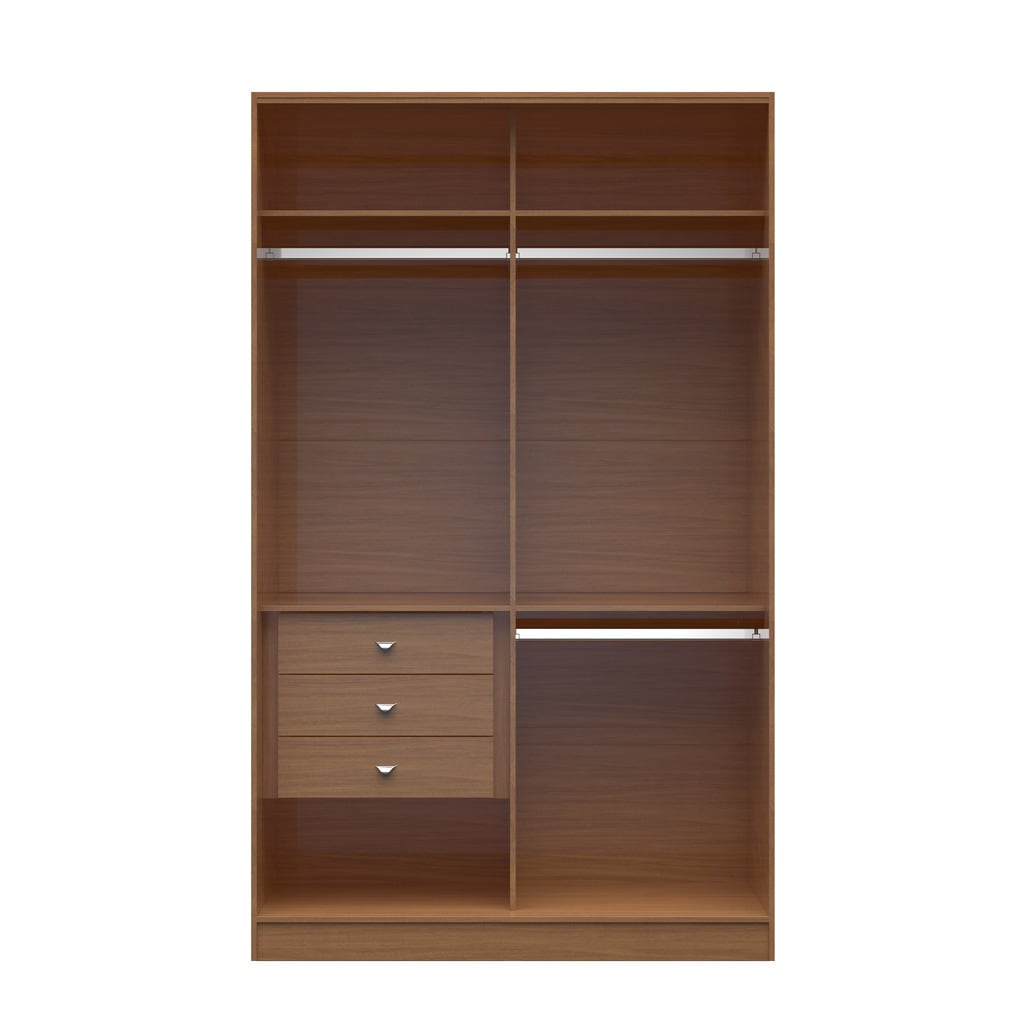 Manhattan Comfort Brown Wood Chelsea Double Basic Wardrobe 1.0 with 3 Drawers (Maple Cream)