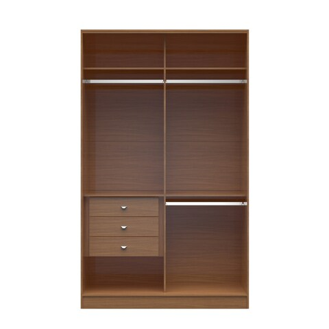 Manhattan Comfort Brown Wood Chelsea Double Basic Wardrobe 1.0 with 3 Drawers