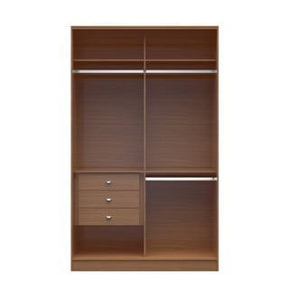 Genial Manhattan Comfort Brown Wood Chelsea Double Basic Wardrobe 1.0 With 3  Drawers