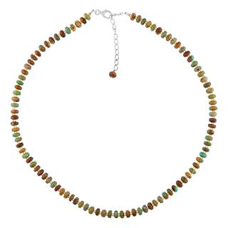 Sterling Silver Turquoise Amber Necklace