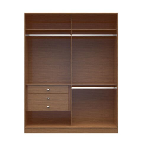 Manhattan Comfort Wood 70.07-inch Chelsea 2.0 Double Basic Wardrobe with 3 Drawers