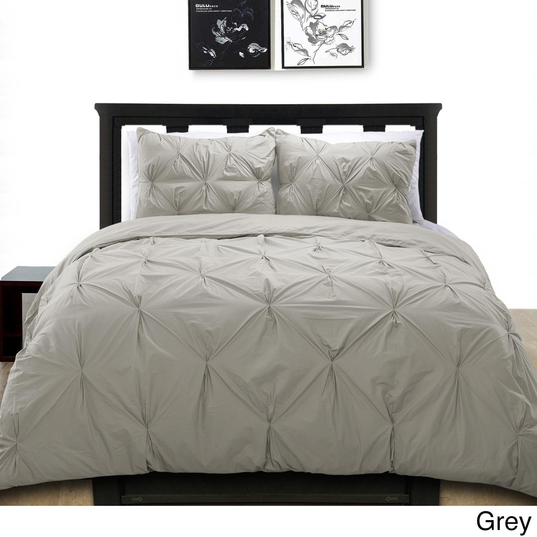 Luxury 100/% Egyptian Cotton 200TC Pintuck Pleated Duvet Cover Bedding Set White