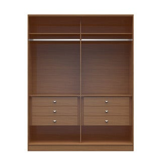Manhattan Comfort Chelsea 2.0 Brown Wood 70.07-inch Wide He/She 6-drawer Wardrobe