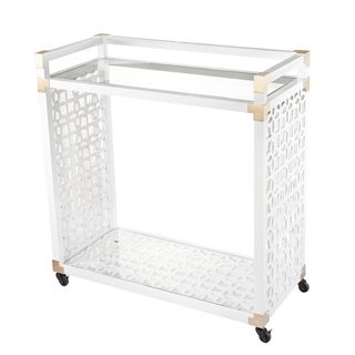 White Wood and Glass Rolling 34-inch x 16-inch x 35-inch Service Trolley