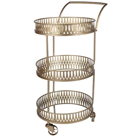 A&B Home Urban Vogue Gold 3-Tier Round Bar Cart
