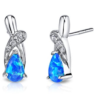 Oravo Sterling Silver 1ct Created Blue Opal Ribbon Earrings