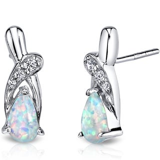 Oravo Sterling Silver 1ct Created Opal White Cubic Zirconia Ribbon Earrings