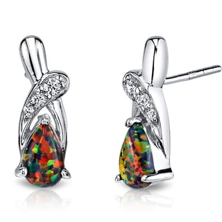 Oravo 1ct Sterling Silver Created Black Opal Ribbon Earrings