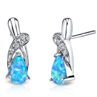 Oravo 1ct Created Powder Blue Opal Sterling Silver Ribbon Earrings