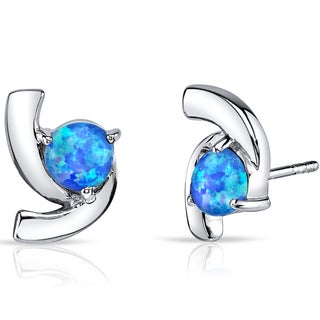 Oravo Sterling Silver 1.25ct Created Blue Opal Trinity Earrings