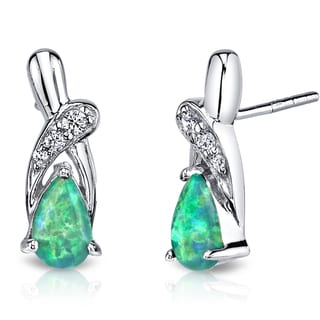 Oravo Sterling Silver 1ct Created Green Opal Ribbon Earrings