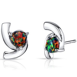 Oravo Sterling Silver 1.25ct Created Black Opal Trinity Earrings