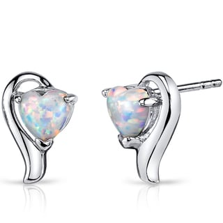 Oravo White Opal Sterling Silver 1.25ct Heart Helix Earrings