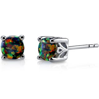 Oravo Sterling Silver 1.25ct Created Black Opal Stud Earrings