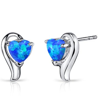 Oravo Sterling Silver 1.25ct Created Blue Opal Heart Helix Earrings