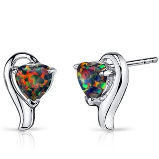 Oravo Women's Sterling Silver 1.25ct Created Black Opal Heart Helix Earrings