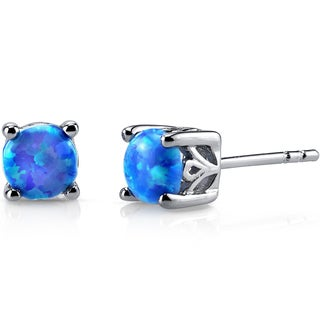 Oravo Sterling Silver 1.25ct Created Blue Opal Stud Earrings