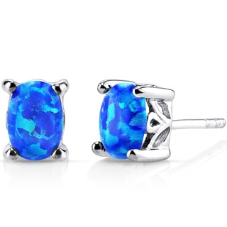 Oravo Sterling Silver 1ct Created Blue Opal Oval Stud Earrings