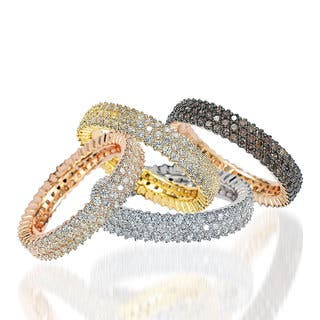 Suzy Levian Sterling Silver Micro-Pave Cubic Zirconia Eternity Band|https://ak1.ostkcdn.com/images/products/12674644/P19460649.jpg?impolicy=medium