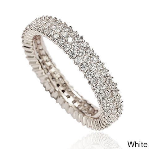 Suzy L. Sterling Silver Micro-Pave Cubic Zirconia Eternity Band