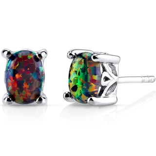 Oravo Sterling Silver 1ct Created Black Opal Oval Stud Earrings
