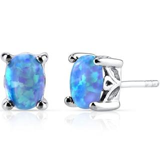 Oravo Sterling Silver 1ct Created Powder Blue Opal Oval Stud Earrings