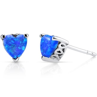 Oravo Sterling Silver 1.25ct Created Blue Opal Heart Stud Earrings