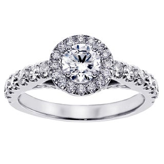 Platinum 1 1/2ct TDW Brilliant-cut Large Diamond Engagement Ring (G-H, SI1-SI2)