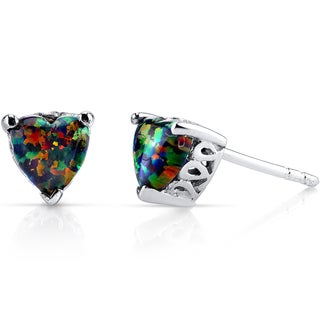 Oravo Sterling Silver 1.25ct Created Black Opal Heart Stud Earrings