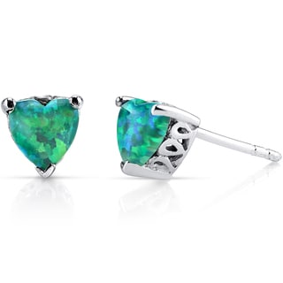 Oravo 1.25ct Green Created Opal Sterling Silver Heart Stud Earrings