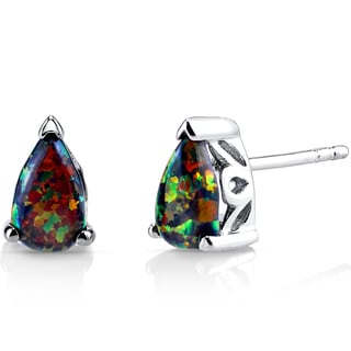 Oravo Sterling Silver 1ct Created Black Opal Tear Drop Stud Earrings