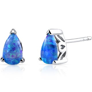 Oravo Sterling Silver 1ct Created Blue Opal Tear Drop Stud Earrings