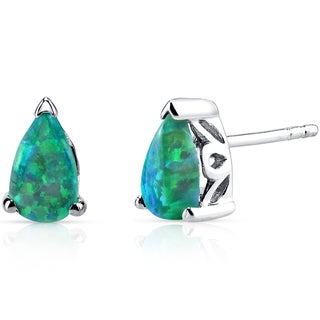 Oravo Sterling Silver 1ct Green Created Opal Tear Drop Stud Earrings