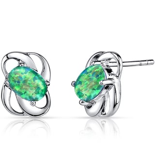 Oravo Sterling Silver 1ct Created Green Opal Blossom Earrings