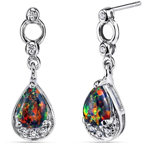Oravo Black Opal Sterling Silver Dangling Earrings