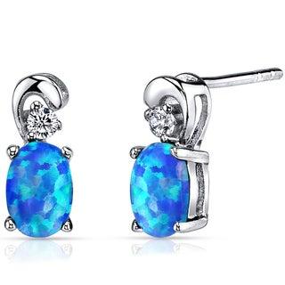 Oravo 1.00-carat Created Blue Opal Sterling Silver Dainty Earrings
