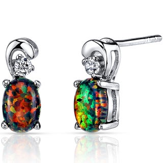 Oravo Sterling Silver 1ct Created Black Opal Dainty Earrings
