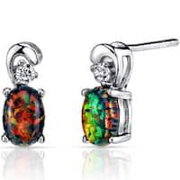 Oravo Sterling Silver 1ct Created Black Opal Dainty Earrings