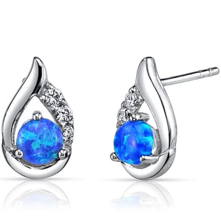 Oravo Created Sterling Silver Blue Opal Round Cabochon Earrings