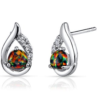 Oravo Sterling Silver Created Black Opal Round Cabochon Earrings