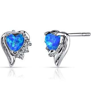 Oravo Sterling Silver Created Blue Opal Sweetheart Earrings