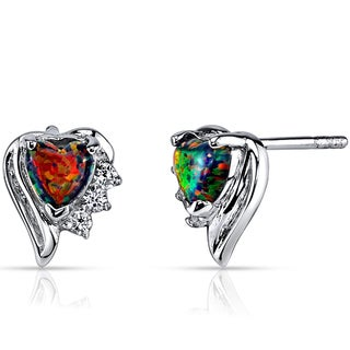 Oravo Black Opal Sterling Silver Sweetheart Earrings